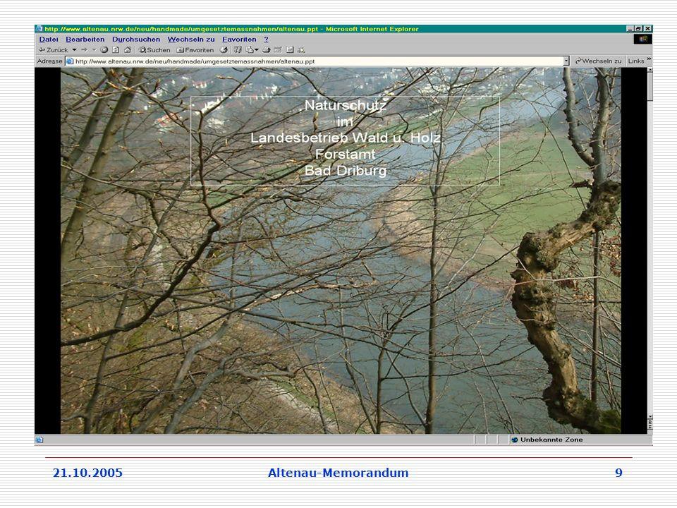 21.10.2005Altenau-Memorandum 9