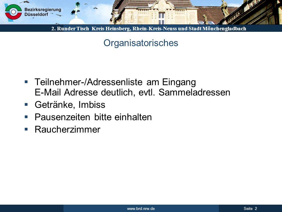 www.brd.nrw.de 2Seite 2. Runder Tisch Kreis Heinsberg, Rhein-Kreis-Neuss und Stadt Mönchengladbach Organisatorisches Teilnehmer-/Adressenliste am Eing