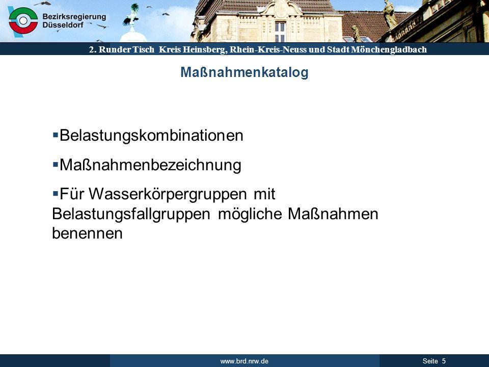 www.brd.nrw.de 5Seite 2. Runder Tisch Kreis Heinsberg, Rhein-Kreis-Neuss und Stadt Mönchengladbach Belastungskombinationen Maßnahmenbezeichnung Für Wa