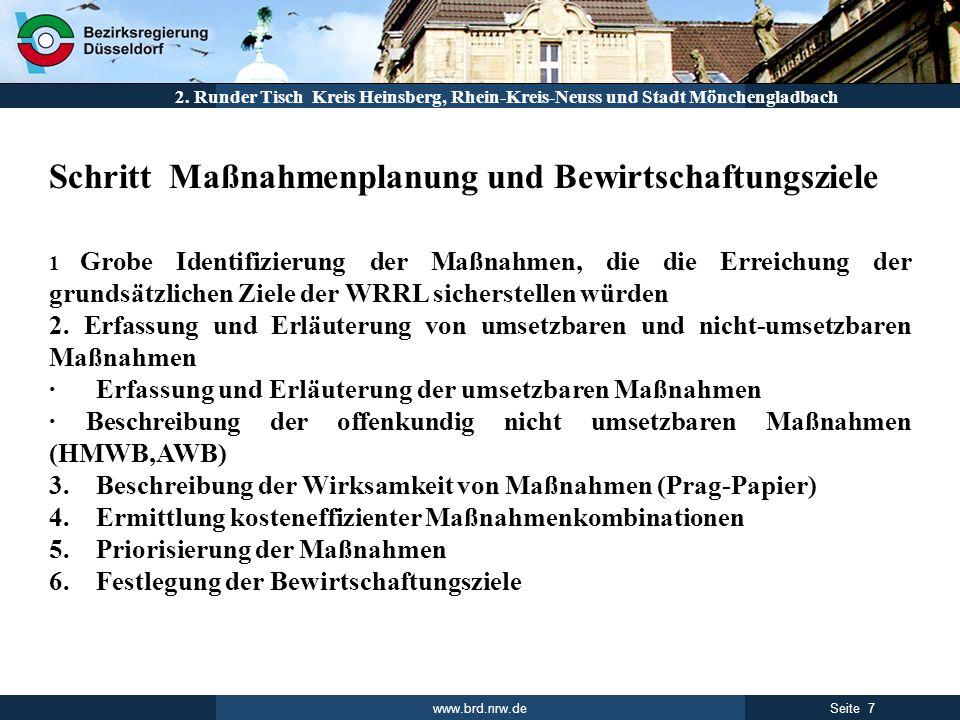 www.brd.nrw.de 7Seite 2. Runder Tisch Kreis Heinsberg, Rhein-Kreis-Neuss und Stadt Mönchengladbach Schritt Maßnahmenplanung und Bewirtschaftungsziele