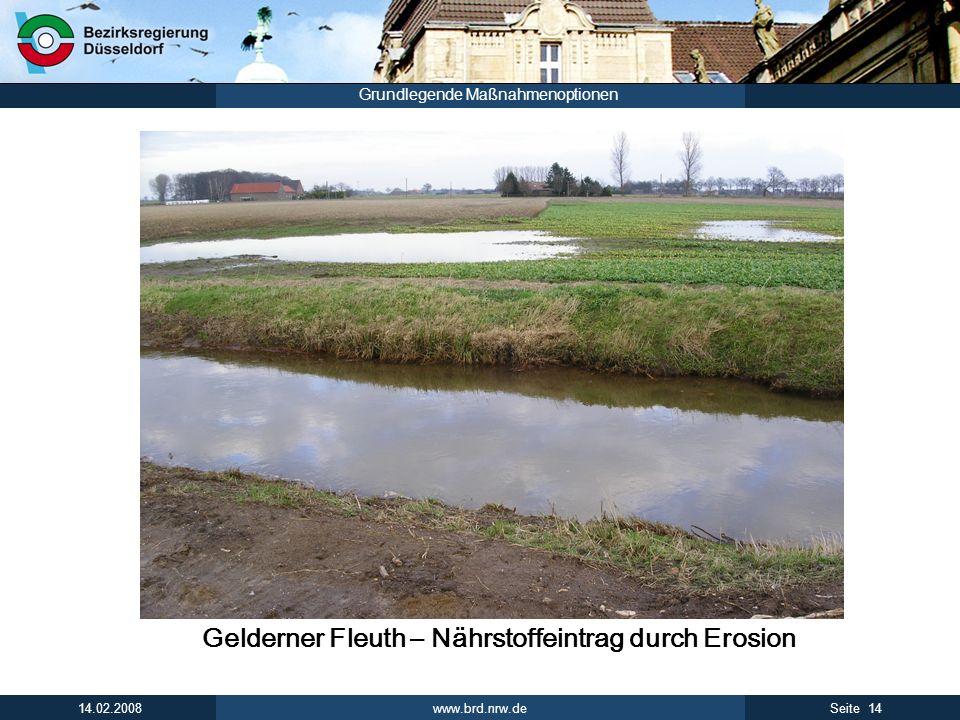 www.brd.nrw.de 14Seite 14.02.2008 Grundlegende Maßnahmenoptionen Gelderner Fleuth – Nährstoffeintrag durch Erosion