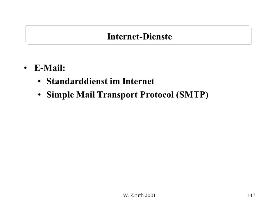 W. Kruth 2001147 Internet-Dienste E-Mail: Standarddienst im Internet Simple Mail Transport Protocol (SMTP)