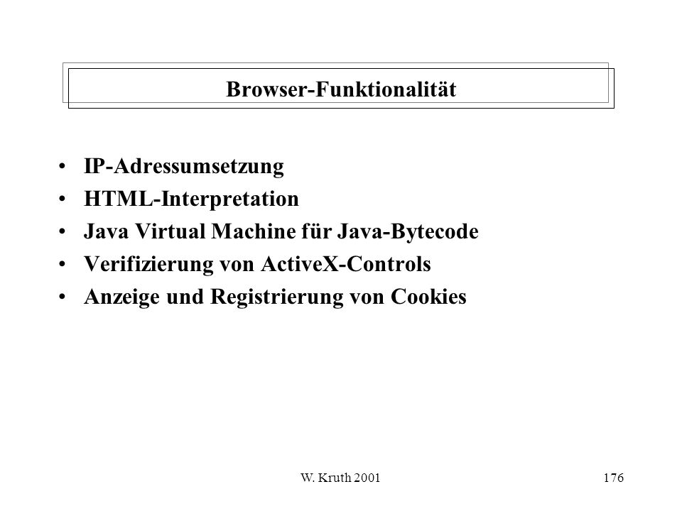 W. Kruth 2001176 Browser-Funktionalität IP-Adressumsetzung HTML-Interpretation Java Virtual Machine für Java-Bytecode Verifizierung von ActiveX-Contro