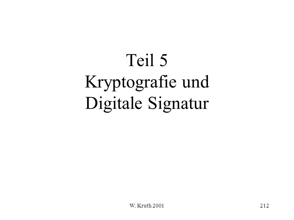 W. Kruth 2001212 Teil 5 Kryptografie und Digitale Signatur