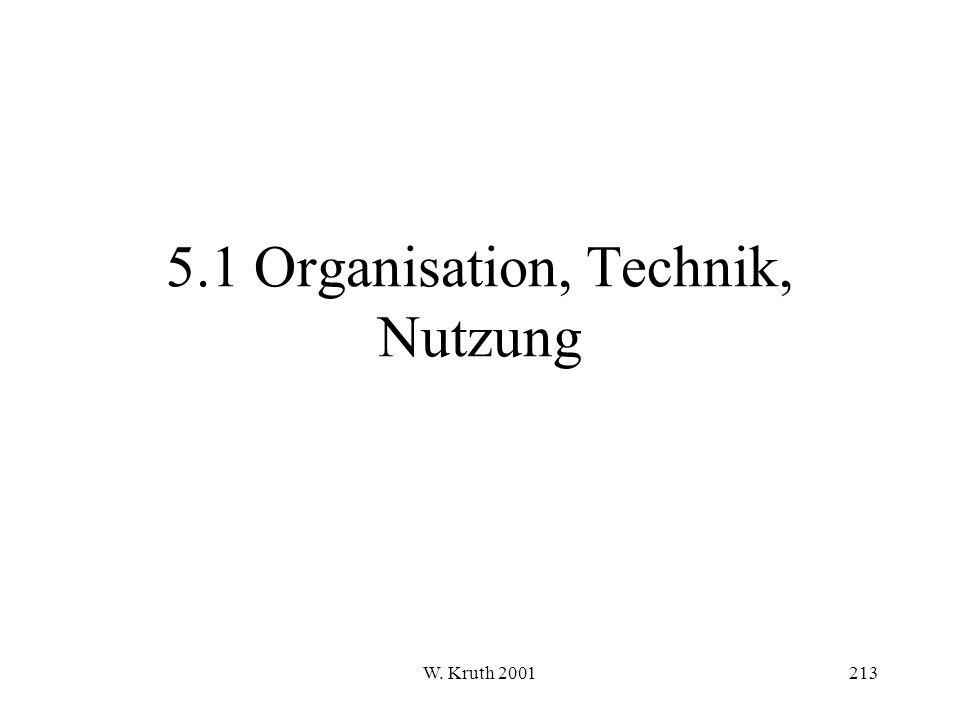 W. Kruth 2001213 5.1 Organisation, Technik, Nutzung