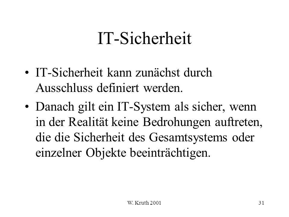 W.Kruth 200131 IT-Sicherheit IT-Sicherheit kann zunächst durch Ausschluss definiert werden.