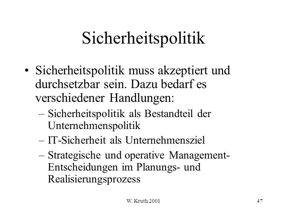 W.Kruth 200147 Sicherheitspolitik Sicherheitspolitik muss akzeptiert und durchsetzbar sein.