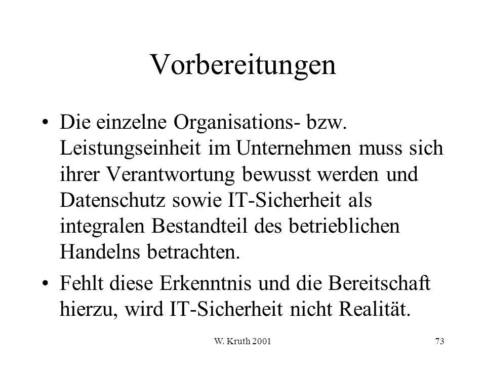 W.Kruth 200173 Vorbereitungen Die einzelne Organisations- bzw.
