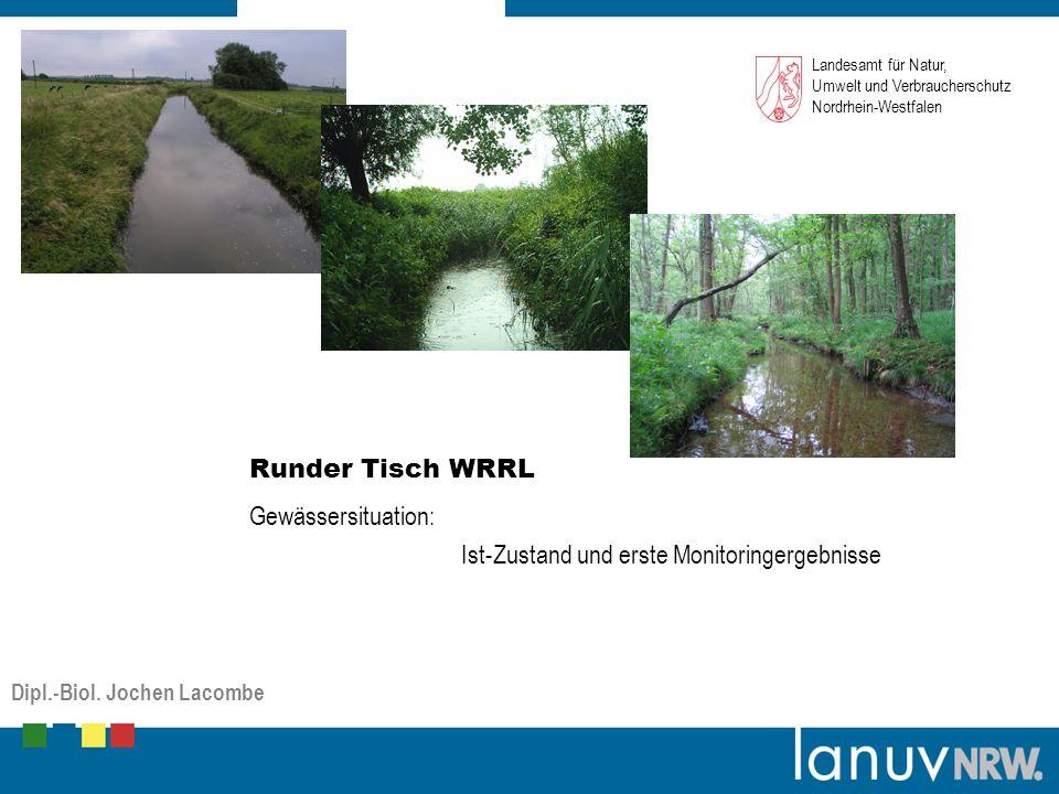Platzhalter Grafik (Bild/Foto) Landesamt für Natur, Umwelt und Verbraucherschutz Nordrhein-Westfalen Runder Tisch WRRL Gewässersituation: Ist-Zustand und erste Monitoringergebnisse Dipl.-Biol.