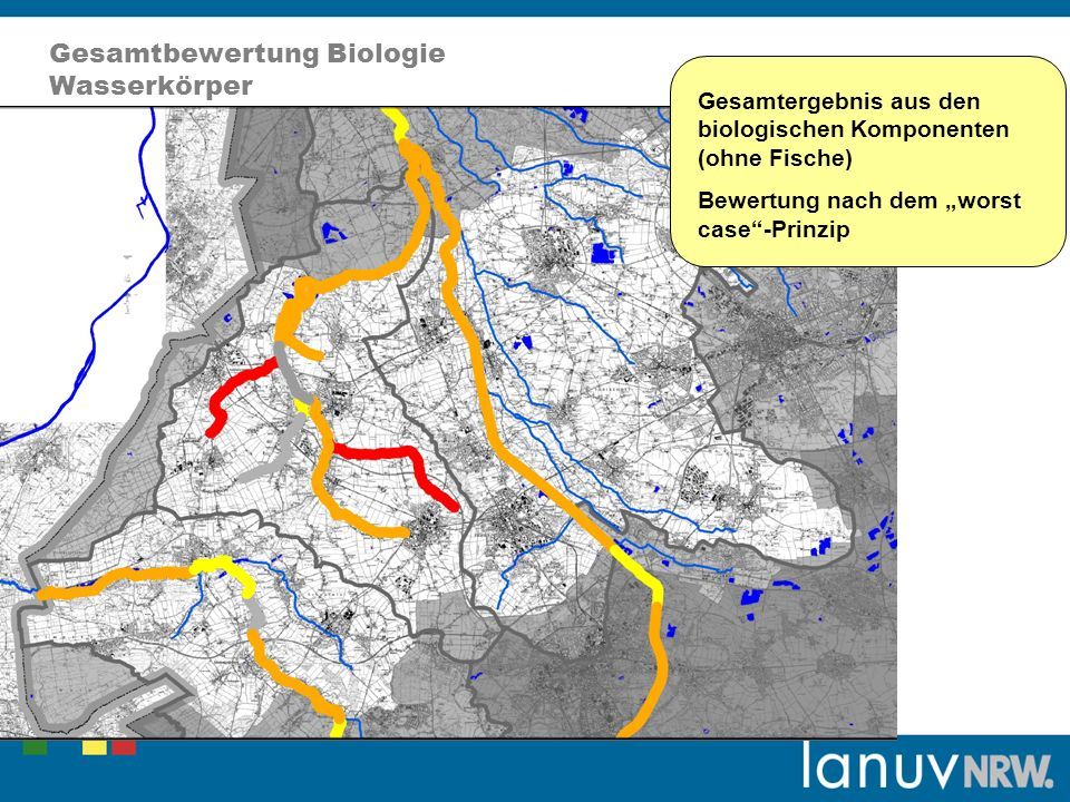 Gesamtbewertung Biologie Wasserkörper Gesamtergebnis aus den biologischen Komponenten (ohne Fische) Bewertung nach dem worst case-Prinzip