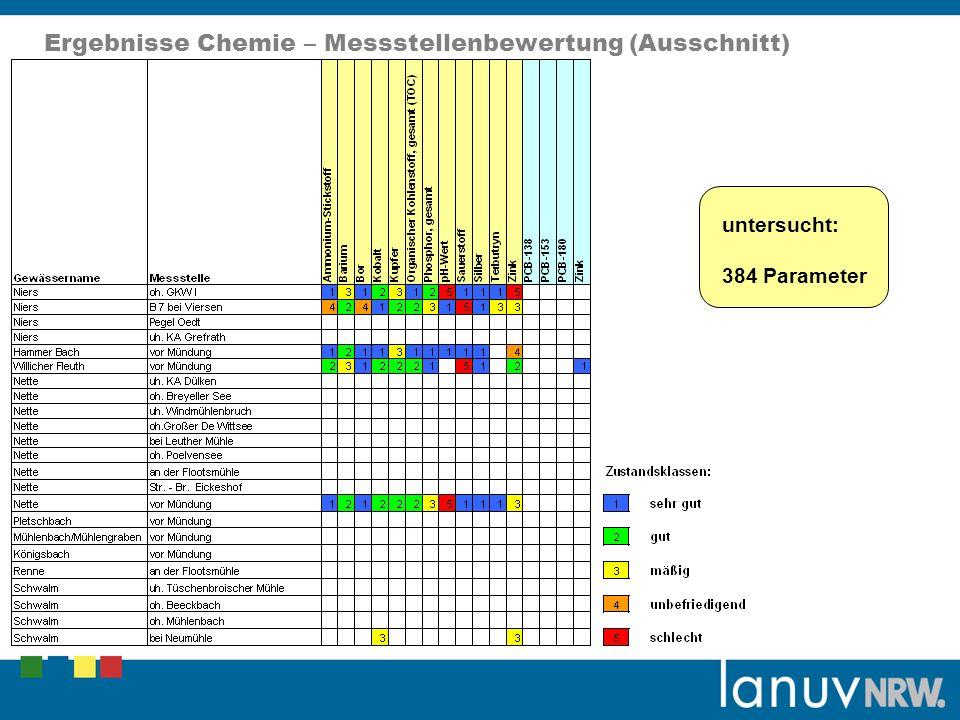 Ergebnisse Chemie – Messstellenbewertung (Ausschnitt) untersucht: 384 Parameter