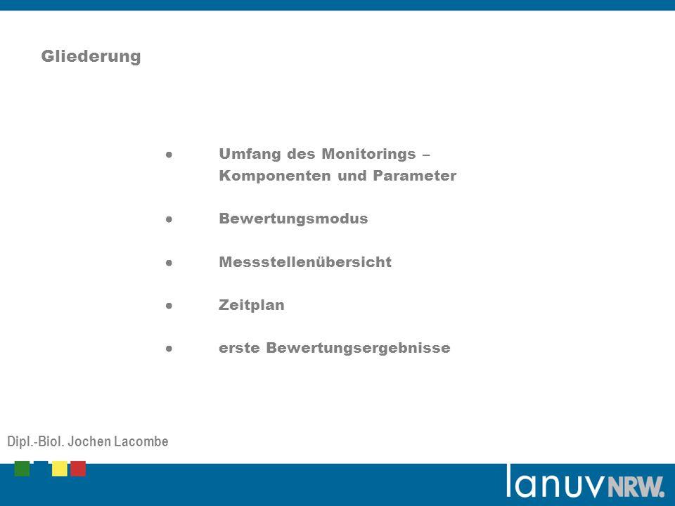 Gliederung Umfang des Monitorings – Komponenten und Parameter Bewertungsmodus Messstellenübersicht Zeitplan erste Bewertungsergebnisse Dipl.-Biol.