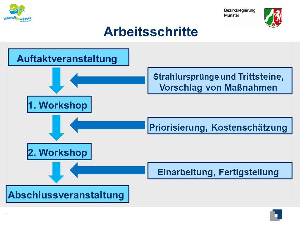Arbeitsschritte 11 Auftaktveranstaltung 1. Workshop 2. Workshop Abschlussveranstaltung Strahlursprünge und Trittsteine, Vorschlag von Maßnahmen Priori