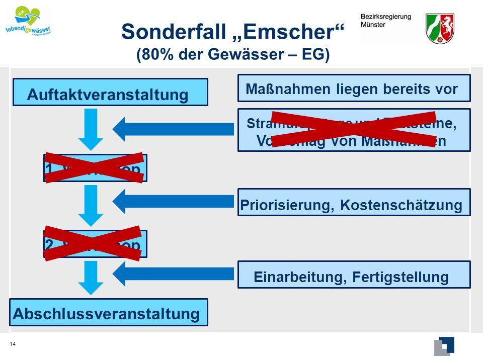 Sonderfall Emscher (80% der Gewässer – EG) 14 Auftaktveranstaltung 1. Workshop 2. Workshop Abschlussveranstaltung Strahlursprünge und Trittsteine, Vor