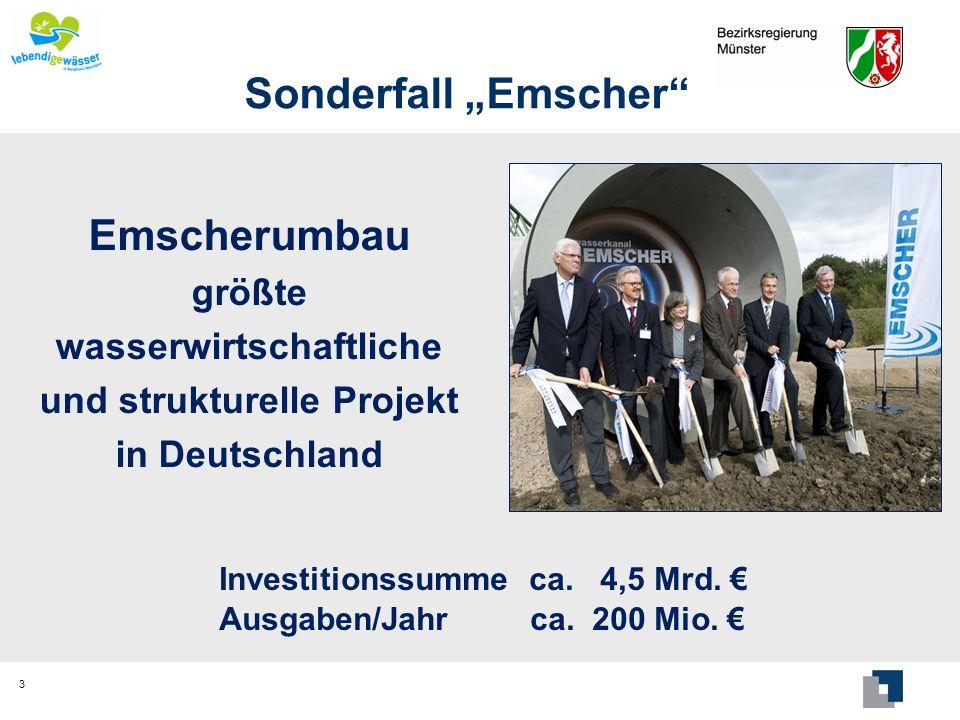 Sonderfall Emscher Emscherumbau größte wasserwirtschaftliche und strukturelle Projekt in Deutschland 3 Investitionssumme ca. 4,5 Mrd. Ausgaben/Jahr ca