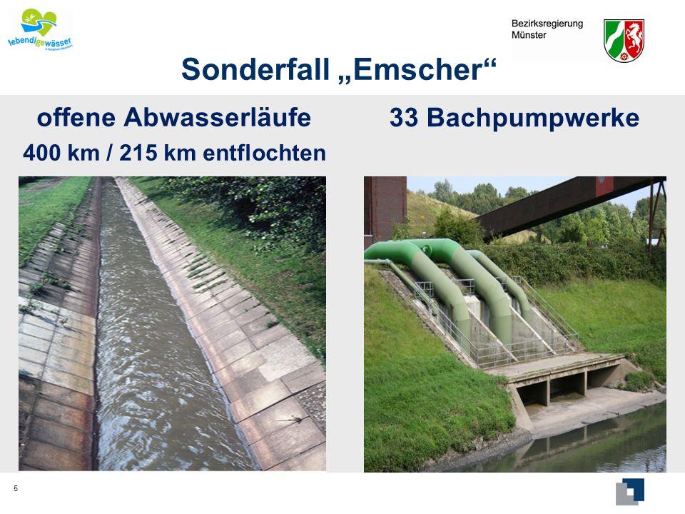 Sonderfall Emscher offene Abwasserläufe 400 km / 215 km entflochten 33 Bachpumpwerke 5