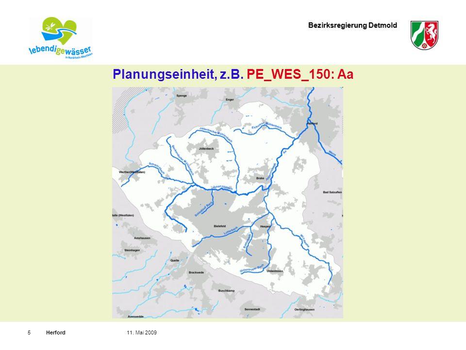 Bezirksregierung Detmold Herford511. Mai 2009 Planungseinheit, z.B. PE_WES_150: Aa