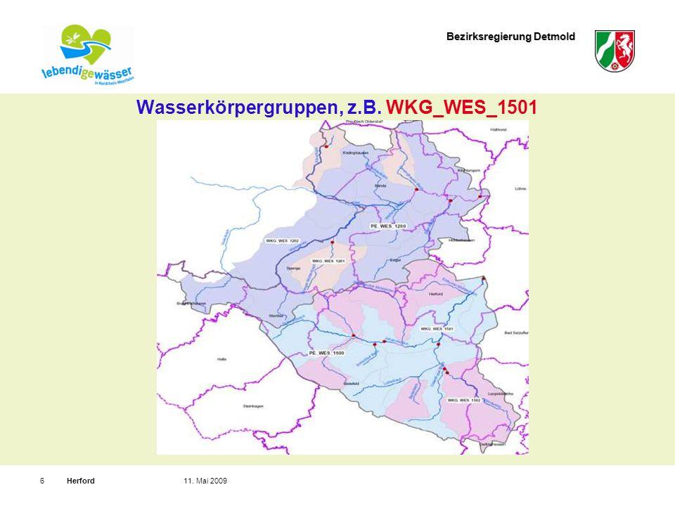 Bezirksregierung Detmold Herford611. Mai 2009 Wasserkörpergruppen, z.B. WKG_WES_1501