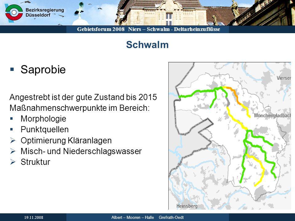 Albert – Mooren – Halle Grefrath-Oedt 19.11.2008 Gebietsforum 2008 Niers – Schwalm - Deltarheinzuflüsse Schwalm Saprobie Angestrebt ist der gute Zusta