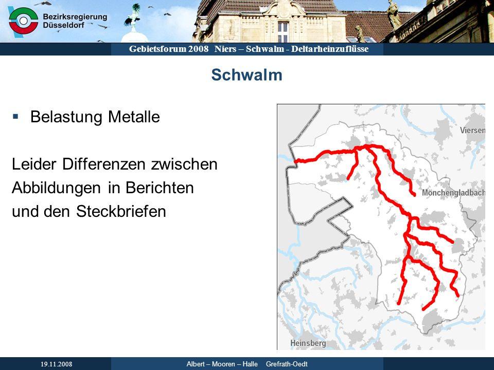 Albert – Mooren – Halle Grefrath-Oedt 19.11.2008 Gebietsforum 2008 Niers – Schwalm - Deltarheinzuflüsse Schwalm Belastung Metalle Leider Differenzen z