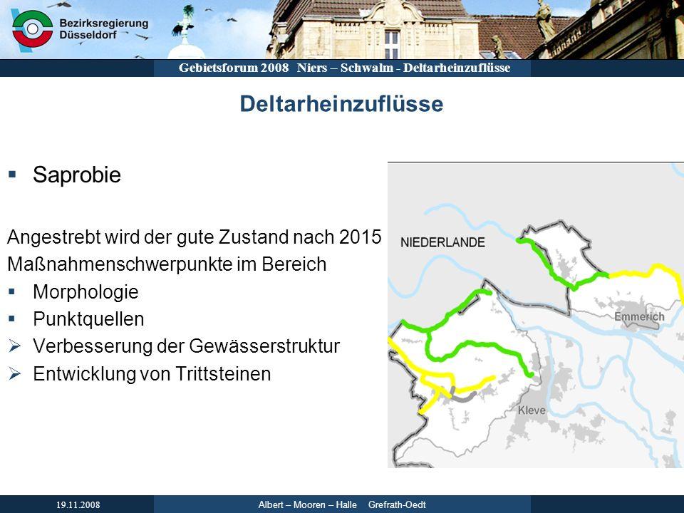 Albert – Mooren – Halle Grefrath-Oedt 19.11.2008 Gebietsforum 2008 Niers – Schwalm - Deltarheinzuflüsse Deltarheinzuflüsse Saprobie Angestrebt wird de