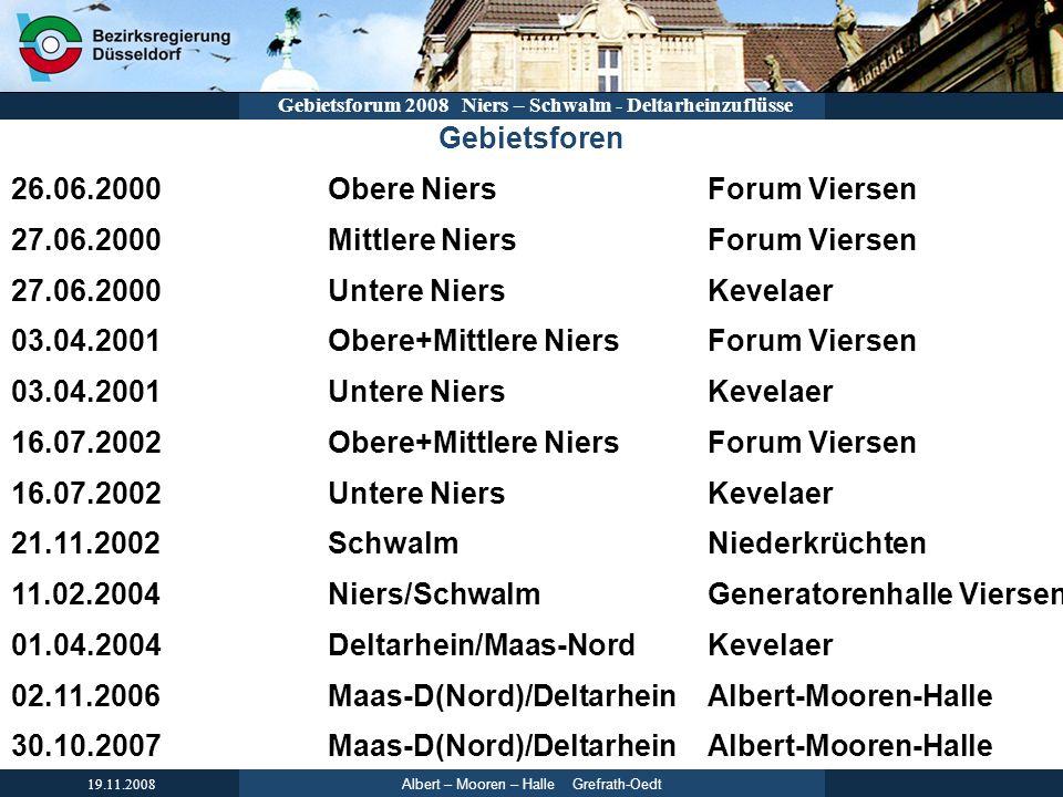 Albert – Mooren – Halle Grefrath-Oedt 19.11.2008 Gebietsforum 2008 Niers – Schwalm - Deltarheinzuflüsse Gebietsforen 26.06.2000Obere NiersForum Vierse