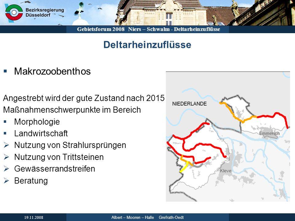 Albert – Mooren – Halle Grefrath-Oedt 19.11.2008 Gebietsforum 2008 Niers – Schwalm - Deltarheinzuflüsse Deltarheinzuflüsse Makrozoobenthos Angestrebt