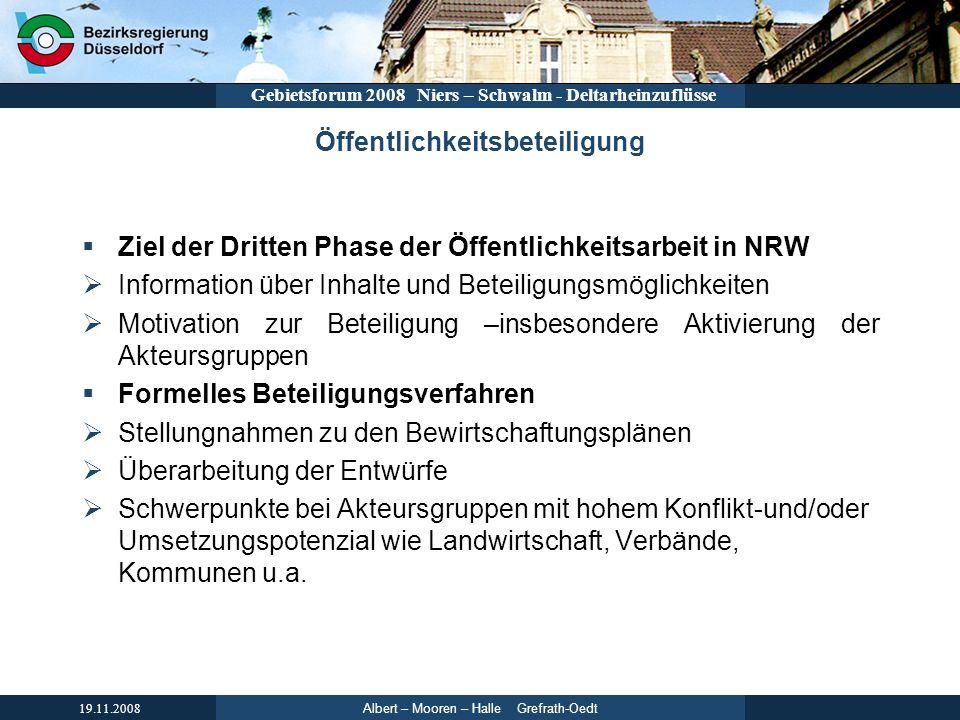 Albert – Mooren – Halle Grefrath-Oedt 19.11.2008 Gebietsforum 2008 Niers – Schwalm - Deltarheinzuflüsse Öffentlichkeitsbeteiligung Ziel der Dritten Ph