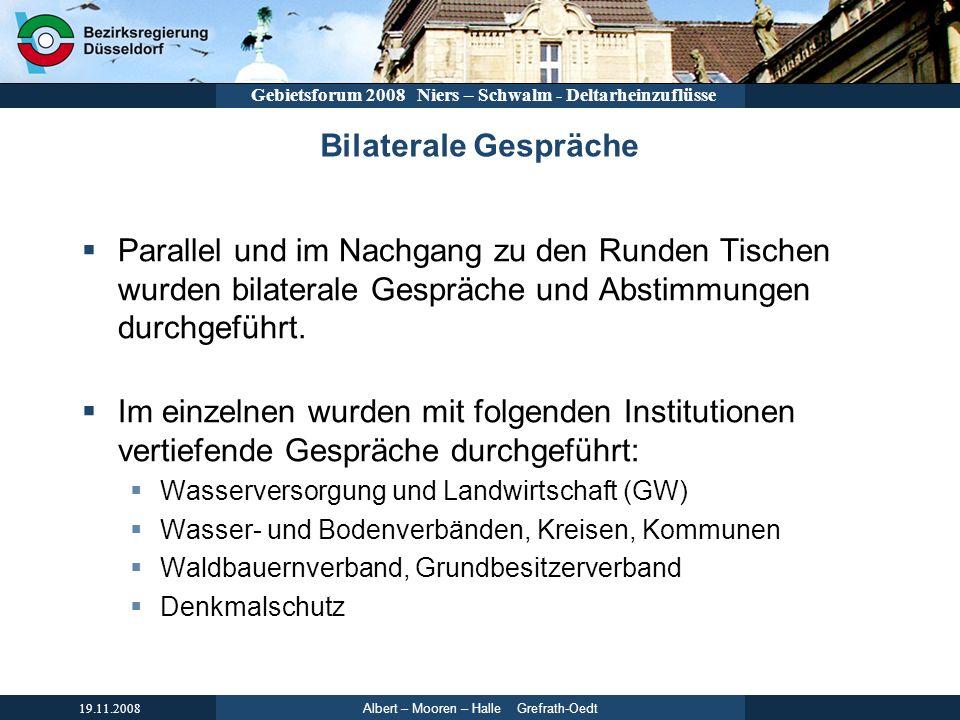 Albert – Mooren – Halle Grefrath-Oedt 19.11.2008 Gebietsforum 2008 Niers – Schwalm - Deltarheinzuflüsse Bilaterale Gespräche Parallel und im Nachgang