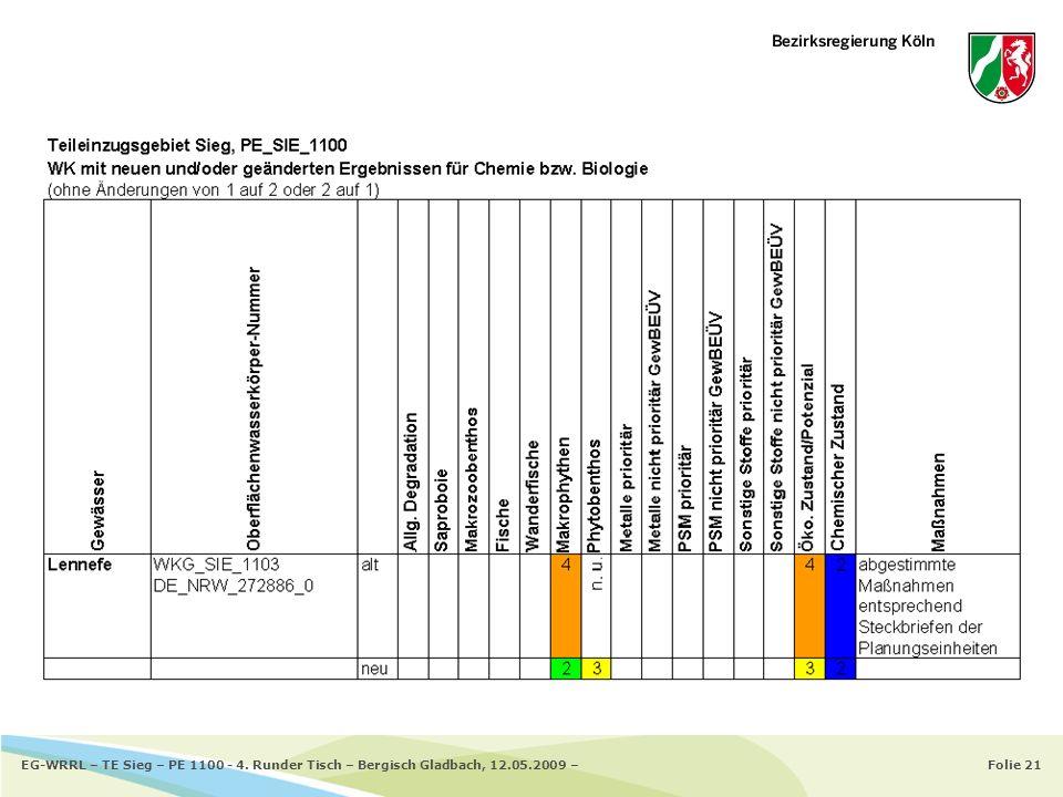 Folie 21EG-WRRL – TE Sieg – PE 1100 - 4. Runder Tisch – Bergisch Gladbach, 12.05.2009 –