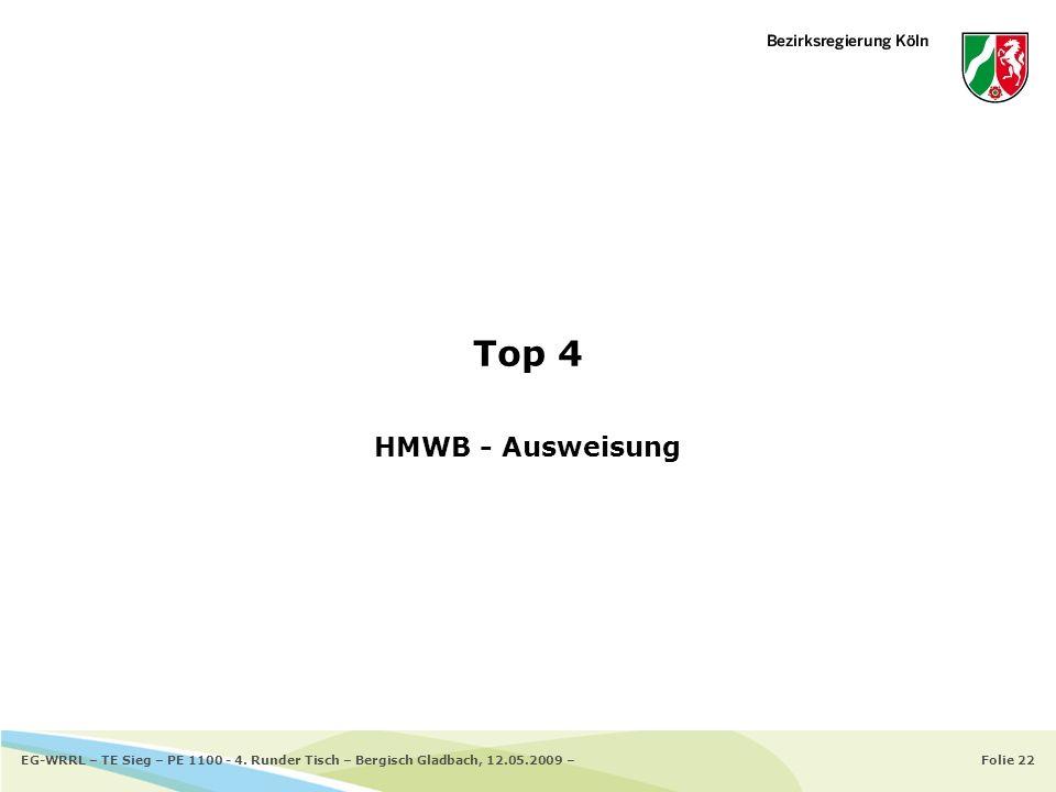 Folie 22EG-WRRL – TE Sieg – PE 1100 - 4. Runder Tisch – Bergisch Gladbach, 12.05.2009 – Top 4 HMWB - Ausweisung