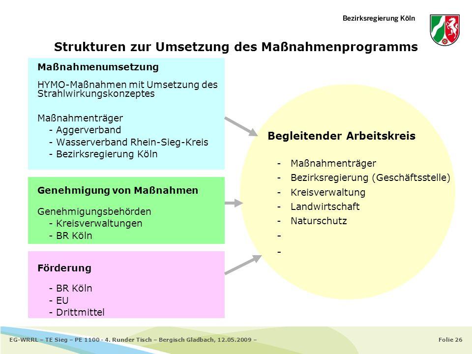 Folie 26EG-WRRL – TE Sieg – PE 1100 - 4. Runder Tisch – Bergisch Gladbach, 12.05.2009 – Strukturen zur Umsetzung des Maßnahmenprogramms Maßnahmenumset