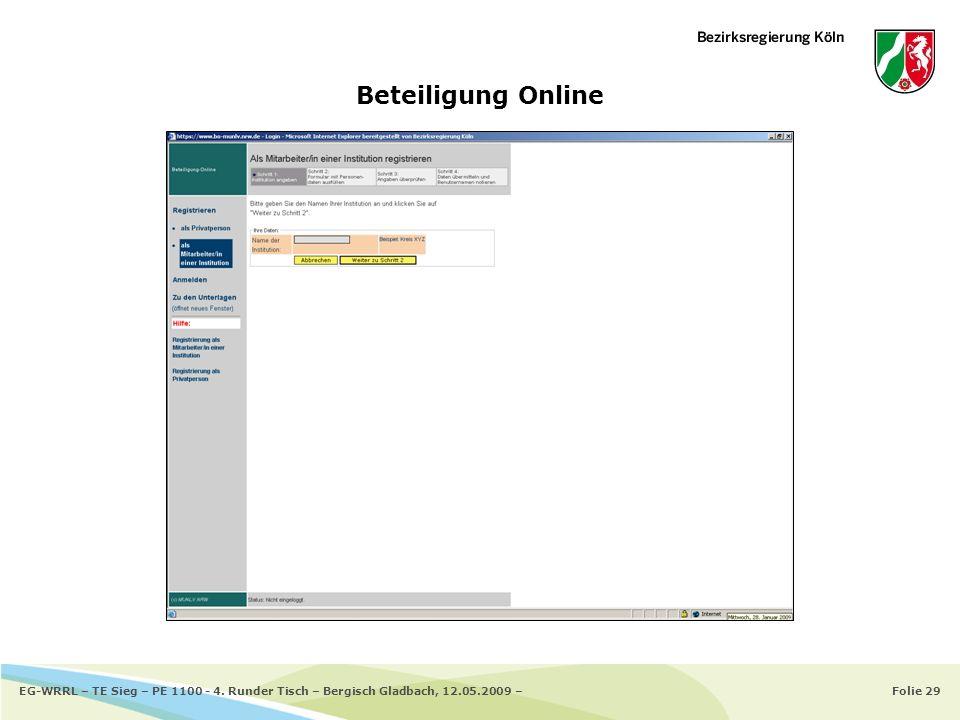 Folie 29EG-WRRL – TE Sieg – PE 1100 - 4. Runder Tisch – Bergisch Gladbach, 12.05.2009 – Beteiligung Online
