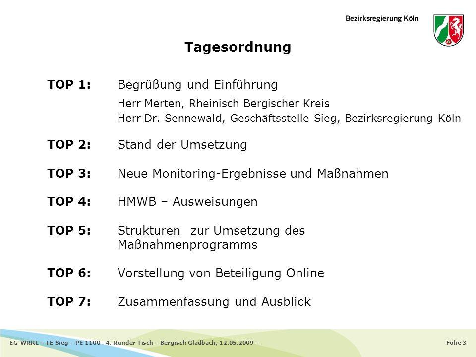Folie 3EG-WRRL – TE Sieg – PE 1100 - 4. Runder Tisch – Bergisch Gladbach, 12.05.2009 – TOP 1: Begrüßung und Einführung Herr Merten, Rheinisch Bergisch