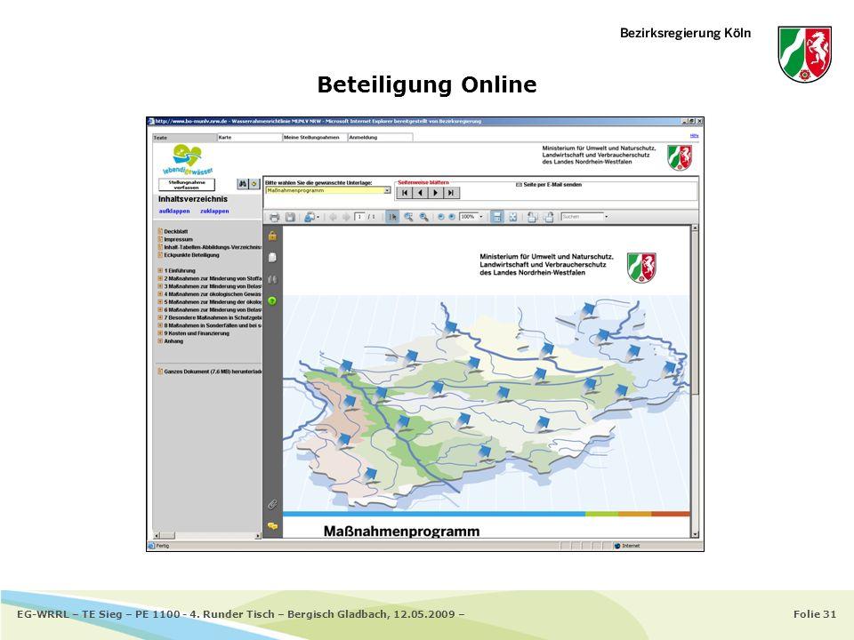 Folie 31EG-WRRL – TE Sieg – PE 1100 - 4. Runder Tisch – Bergisch Gladbach, 12.05.2009 – Beteiligung Online