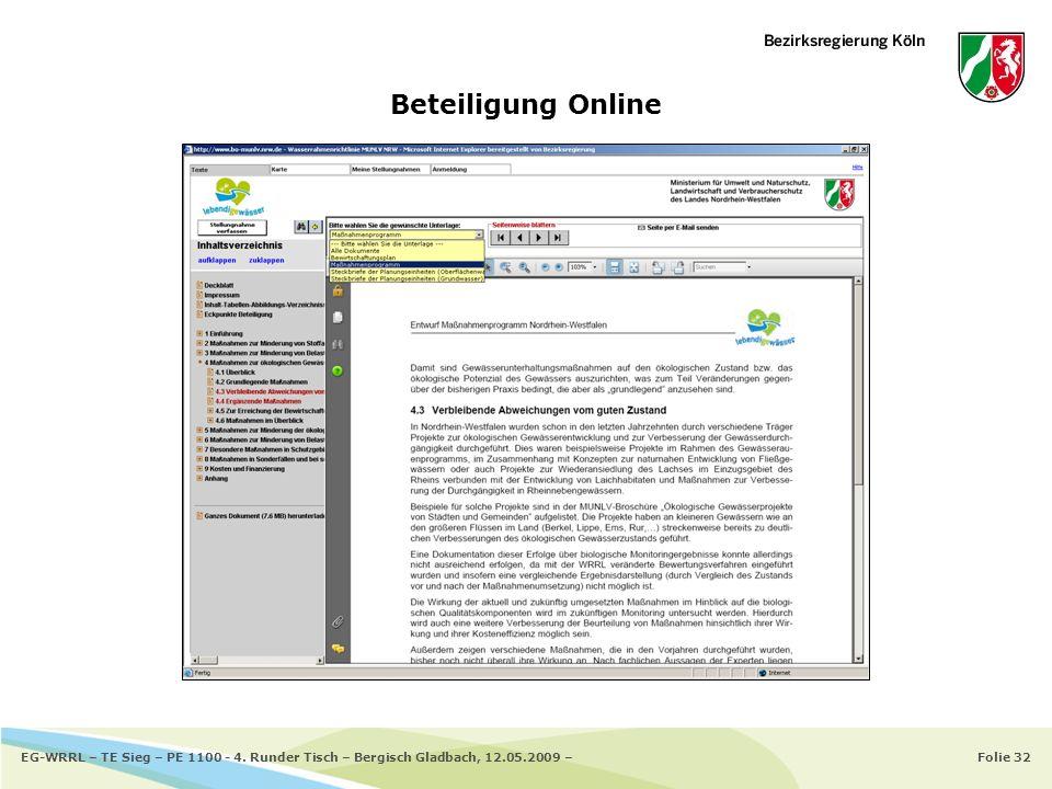 Folie 32EG-WRRL – TE Sieg – PE 1100 - 4. Runder Tisch – Bergisch Gladbach, 12.05.2009 – Beteiligung Online