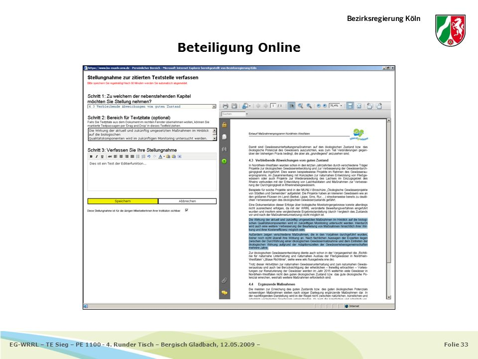 Folie 33EG-WRRL – TE Sieg – PE 1100 - 4. Runder Tisch – Bergisch Gladbach, 12.05.2009 – Beteiligung Online