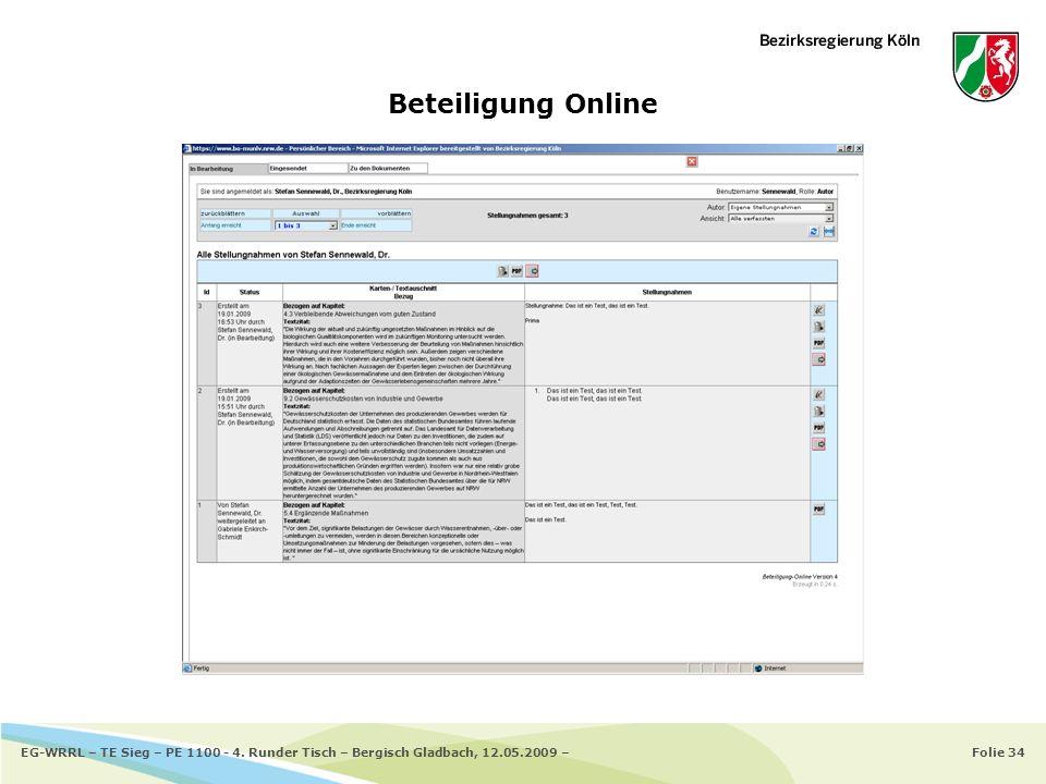 Folie 34EG-WRRL – TE Sieg – PE 1100 - 4. Runder Tisch – Bergisch Gladbach, 12.05.2009 – Beteiligung Online