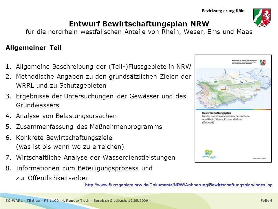 Folie 6EG-WRRL – TE Sieg – PE 1100 - 4. Runder Tisch – Bergisch Gladbach, 12.05.2009 – Entwurf Bewirtschaftungsplan NRW für die nordrhein-westfälische