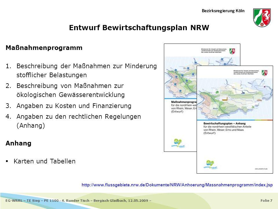 Folie 7EG-WRRL – TE Sieg – PE 1100 - 4. Runder Tisch – Bergisch Gladbach, 12.05.2009 – Entwurf Bewirtschaftungsplan NRW Maßnahmenprogramm 1.Beschreibu