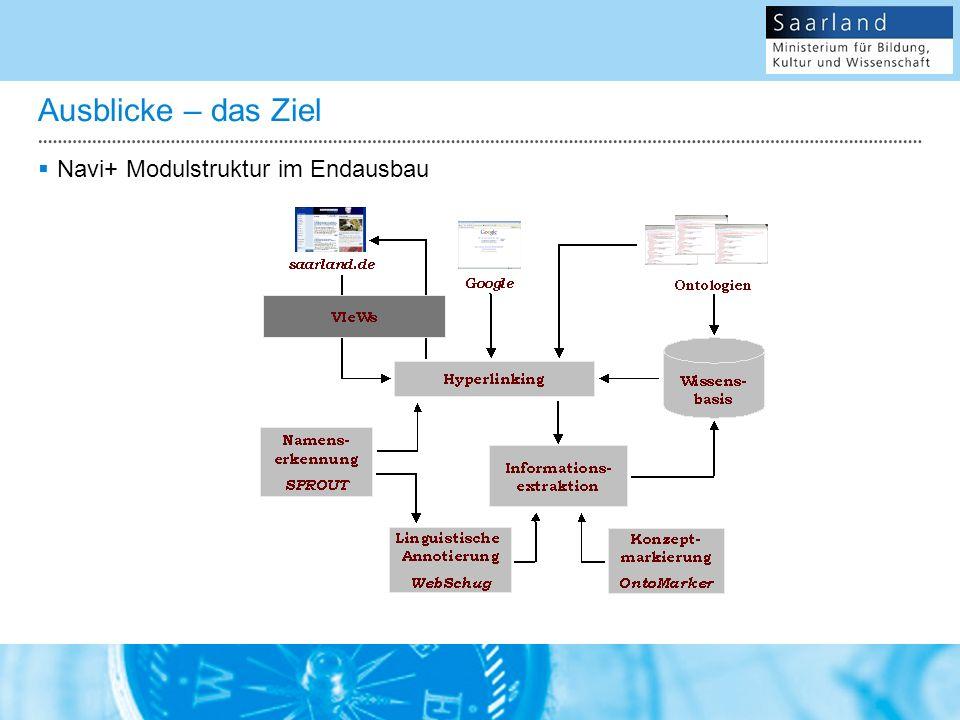 Ausblicke – das Ziel Navi+ Modulstruktur im Endausbau