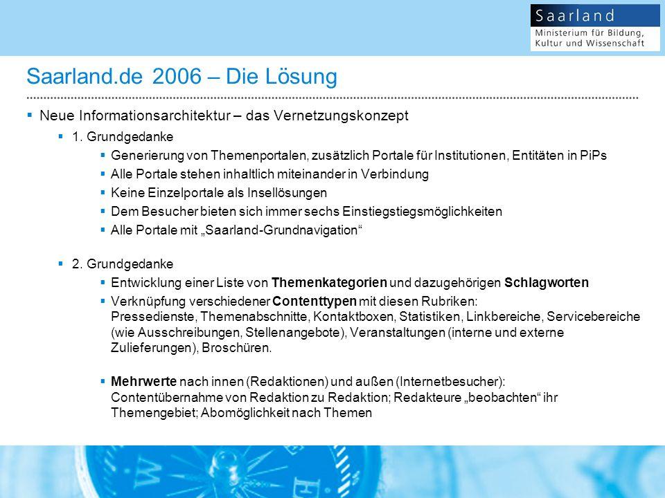 Saarland.de 2006 – Die Lösung Neue Informationsarchitektur – das Vernetzungskonzept 1.