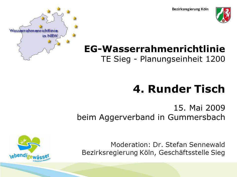 EG-Wasserrahmenrichtlinie TE Sieg - Planungseinheit 1200 4. Runder Tisch 15. Mai 2009 beim Aggerverband in Gummersbach Moderation: Dr. Stefan Sennewal