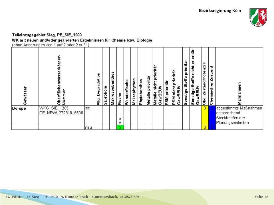 Folie 18EG-WRRL – TE Sieg – PE 1200 - 4. Runder Tisch – Gummersbach, 15.05.2009 –