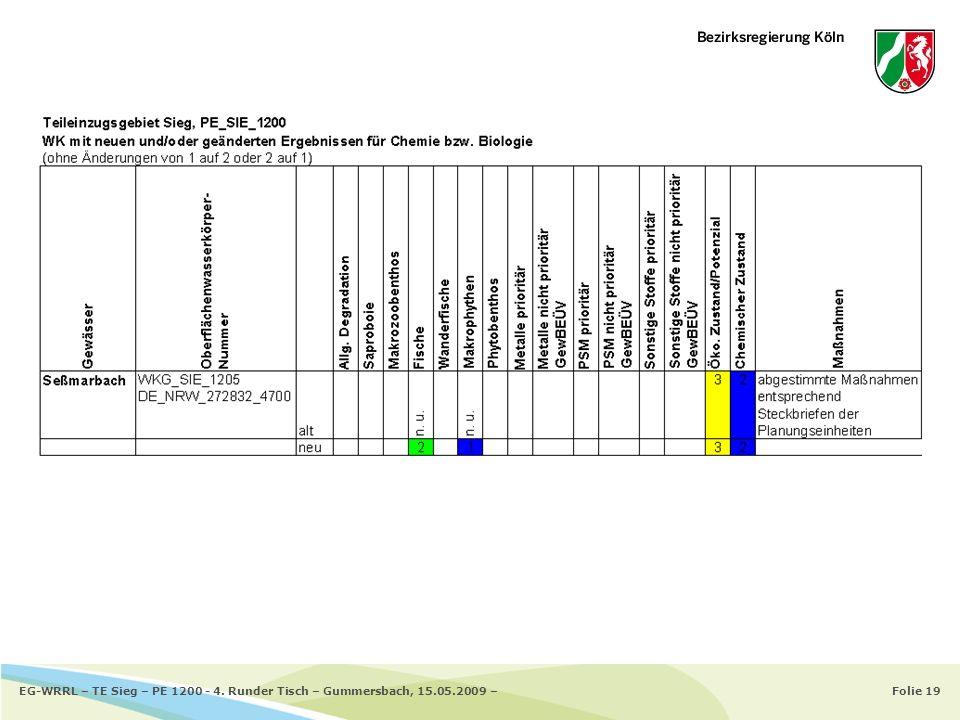 Folie 19EG-WRRL – TE Sieg – PE 1200 - 4. Runder Tisch – Gummersbach, 15.05.2009 –