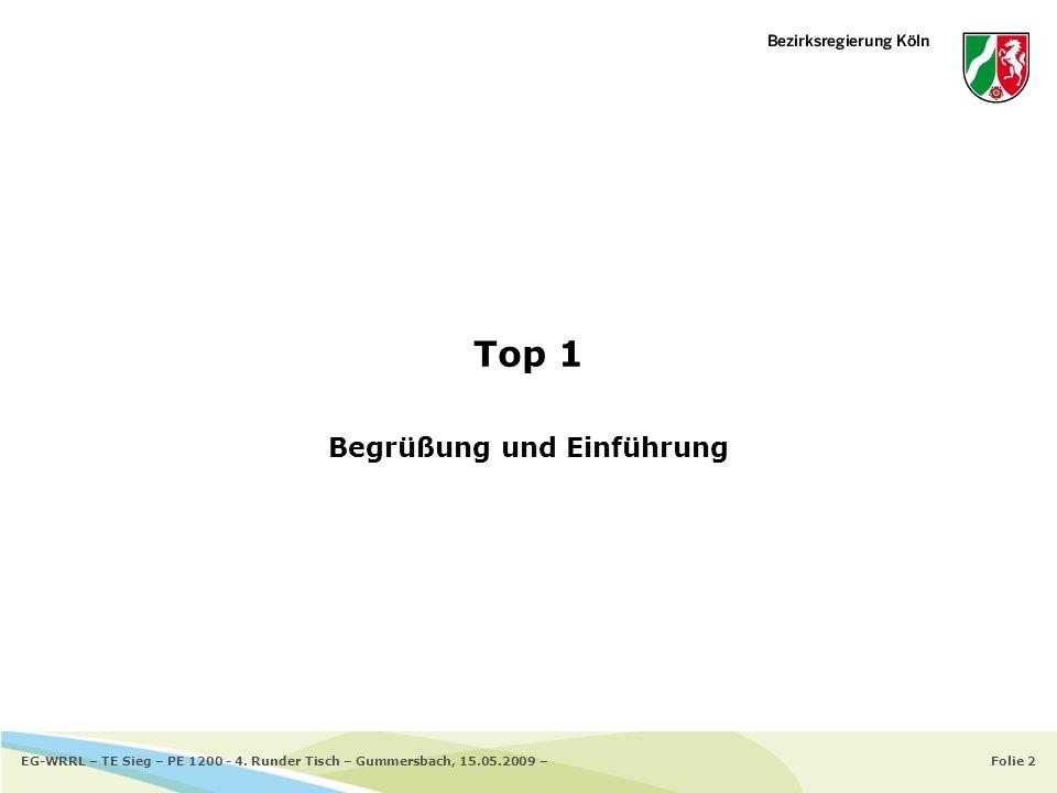 Folie 2EG-WRRL – TE Sieg – PE 1200 - 4. Runder Tisch – Gummersbach, 15.05.2009 – Top 1 Begrüßung und Einführung