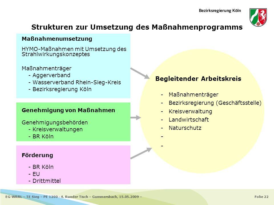 Folie 22EG-WRRL – TE Sieg – PE 1200 - 4. Runder Tisch – Gummersbach, 15.05.2009 – Strukturen zur Umsetzung des Maßnahmenprogramms Maßnahmenumsetzung H
