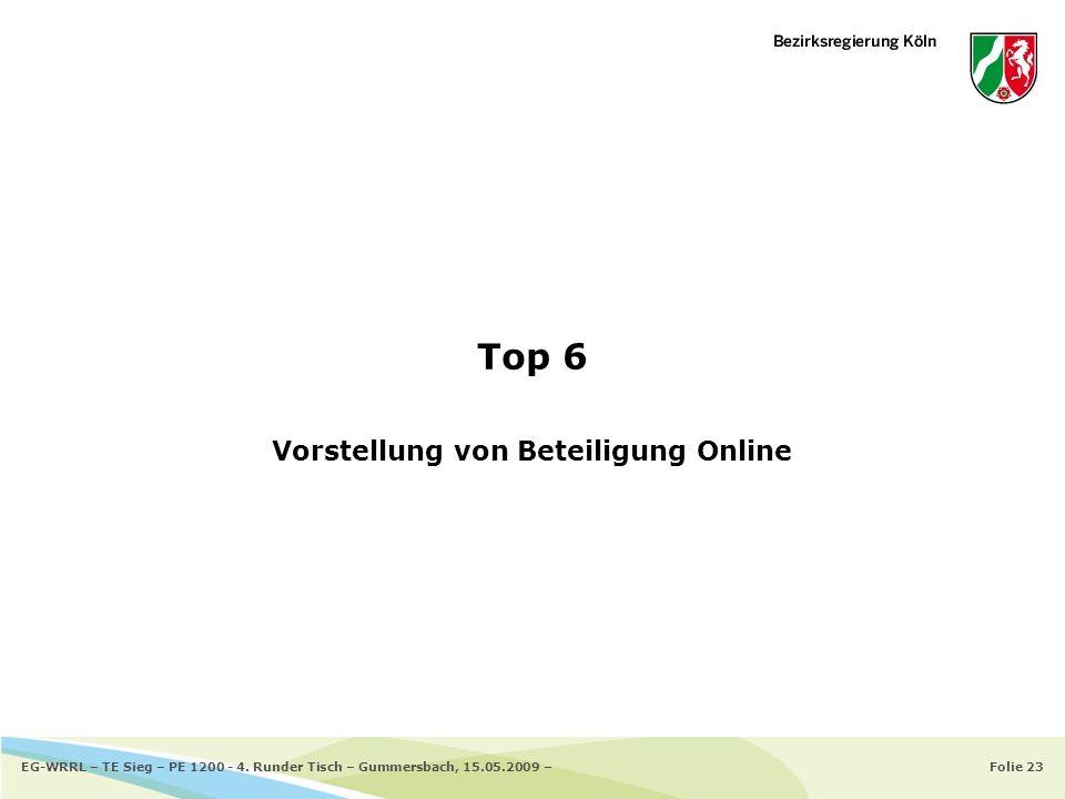 Folie 23EG-WRRL – TE Sieg – PE 1200 - 4. Runder Tisch – Gummersbach, 15.05.2009 – Top 6 Vorstellung von Beteiligung Online