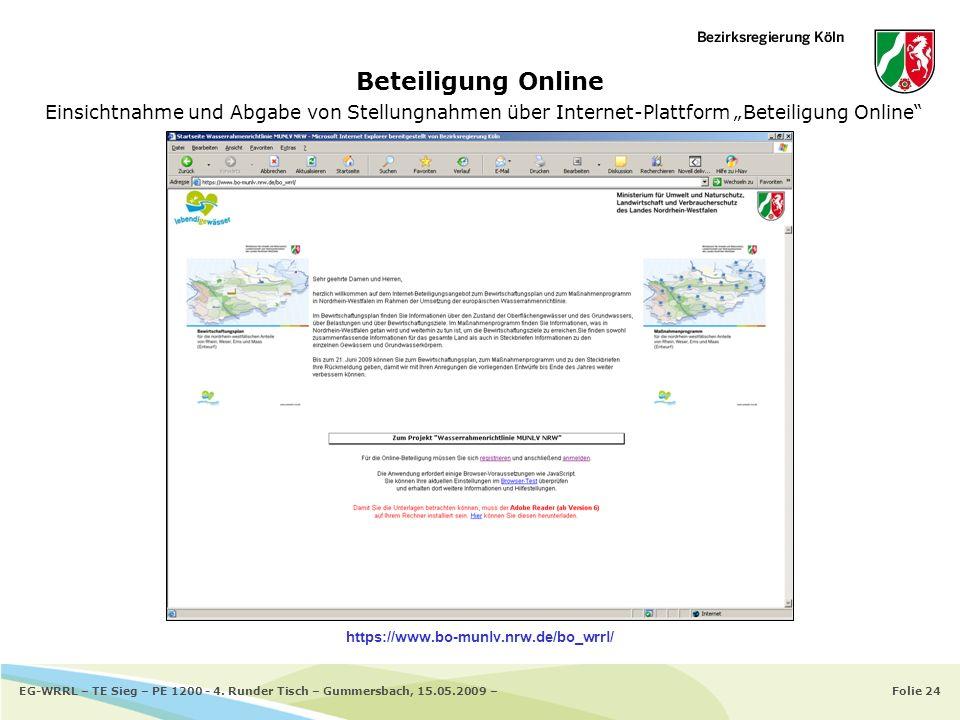 Folie 24EG-WRRL – TE Sieg – PE 1200 - 4. Runder Tisch – Gummersbach, 15.05.2009 – Beteiligung Online Einsichtnahme und Abgabe von Stellungnahmen über