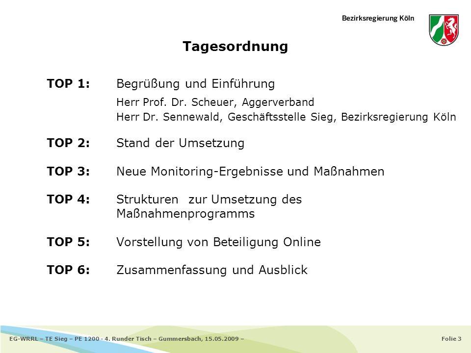 Folie 3EG-WRRL – TE Sieg – PE 1200 - 4. Runder Tisch – Gummersbach, 15.05.2009 – TOP 1: Begrüßung und Einführung Herr Prof. Dr. Scheuer, Aggerverband